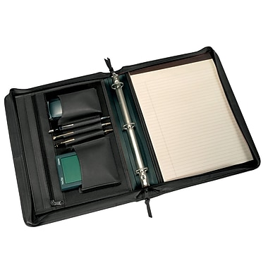 Royce Leather Deluxe Convertible Zip Around Binder Padfolio, Black, Gold Foil Stamping, 3 Initials