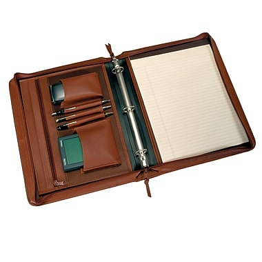 Royce Leather Deluxe Convertible Zip Around Binder Padfolio, Tan, Gold Foil Stamping, 3 Initials