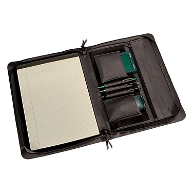Royce Leather Zip Around Writing Pad holder, Black, Gold Foil Stamping, Full Name