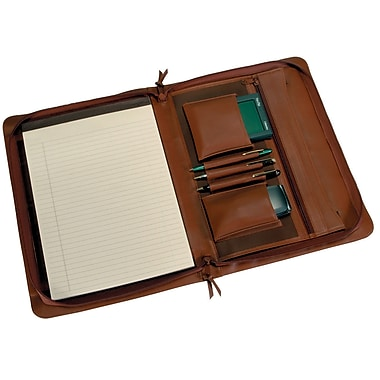 Royce Leather Zip Around Writing Pad holder, Tan, Silver Foil Stamping, 3 Initials