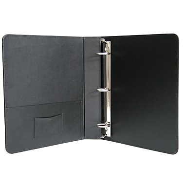 Royce Leather 1.5-Inch Round 3-Ring Nonview Binder, Black Leather (307-BLK-8)