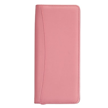 Royce Leather Expanded Travel Document Case, Carnation Pink, Debossing, Full Name