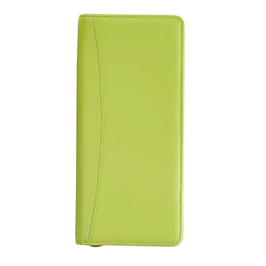 Royce Leather Expanded Travel Document Case, Key Lime Green, Debossing, 3 Initials