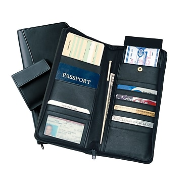 Royce Leather International Expanded Travel Document Case, Black, Silver Foil Stamping, 3 Initials