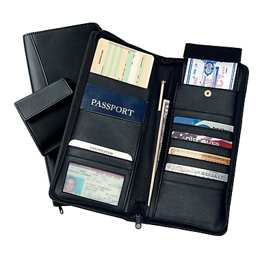 Royce Leather Expanded Leather Travel Document Case, Black, Gold Foil Stamping, Full Name