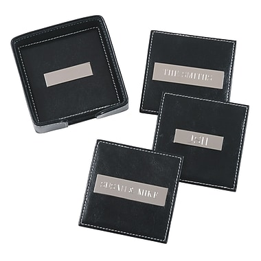 Royce Leather 6 Leather Square Coasters with 3