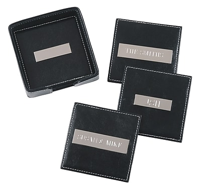 Royce Leather Engraved Plate Square Coasters Black