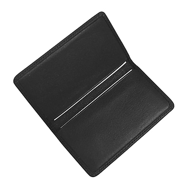 Royce Leather Classic Business Card Case, Black, Silver Foil Stamping, 3 Initials
