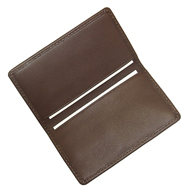 Royce Leather Classic Business Card Case, Coco, Silver Foil Stamping, 3 Initials