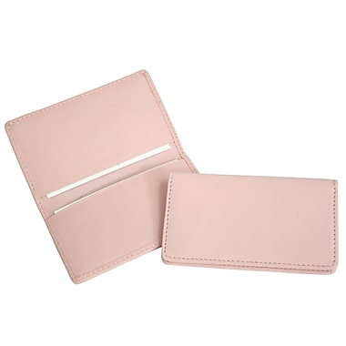Royce Leather Classic Business Card Case, Carnation Pink, Gold Foil Stamping, Full Name