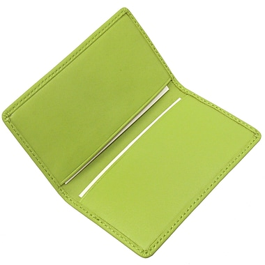Royce Leather Classic Business Card Case, Key Lime Green, Silver Foil Stamping, 3 Initials