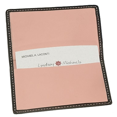 Royce Leather Classic Business Card Case, Metro Collection, Carnation Pink, Silver Foil Stamping, 3 Initials