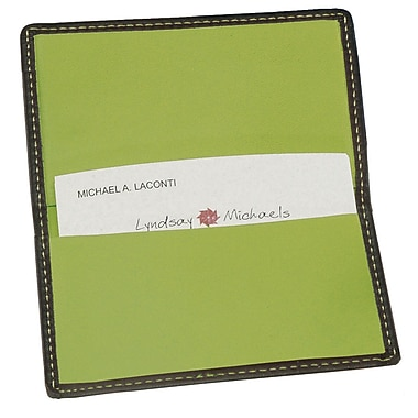 Royce Leather Classic Business Card Case, Metro Collection, Key Lime Green, Silver Foil Stamping, Full Name