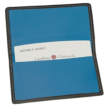 Royce Leather Classic Business Card Case, Metro Collection, Royce Blue, Silver Foil Stamping, Full Name