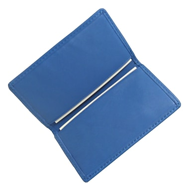 Royce Leather Classic Business Card Case, Royce Blue, Silver Foil Stamping, Full Name
