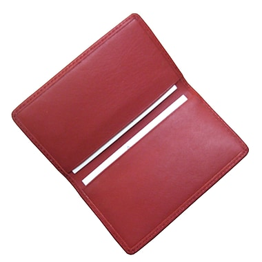 Royce Leather Classic Business Card Case, Red, Silver Foil Stamping, 3 Initials