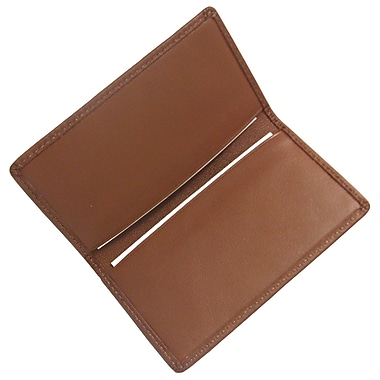 Royce Leather Classic Business Card Case, Tan, Silver Foil Stamping, 3 Initials