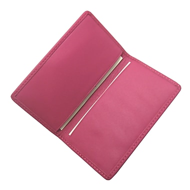 Royce Leather Classic Business Card Case, Wildberry, Debossing, 3 Initials