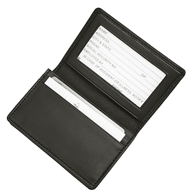 Royce Leather Executive Business Card Case in Genuine Leather, Silver Foil Stamping, 3 Initials