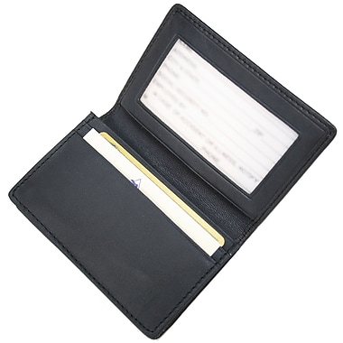 Royce Leather Executive Card Case, Blue, Gold Foil Stamping, Full Name