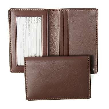 Royce Leather – Étui pour cartes professionnelles, chocolat, estampage, nom complet