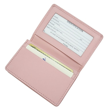 Royce Leather Executive Card Case, Carnation Pink, Debossing, Full Name