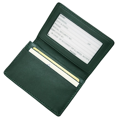 Royce Leather Executive Card Case, Green, Silver Foil Stamping, 3 Initials