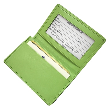 Royce Leather – Étui pour cartes, vert lime, estampage argenté, nom complet