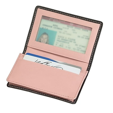 Royce Leather Executive Card Case, Metro Collection, Carnation Pink, Silver Foil Stamping, 3 Initials