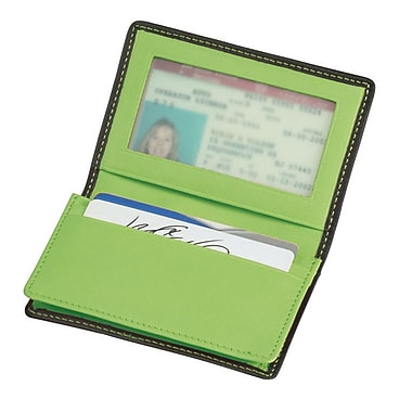 Royce Leather Executive Card Case, Metro Collection, Key Lime Green, Gold Foil Stamping, 3 Initials