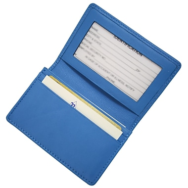Royce Leather – Étui pour cartes professionnelles, bleu Royce, estampage or, 3 initiales