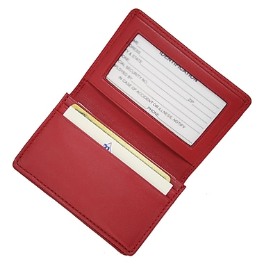 Royce Leather – Étui pour cartes professionnelles, rouge, estampage or, 3 initiales