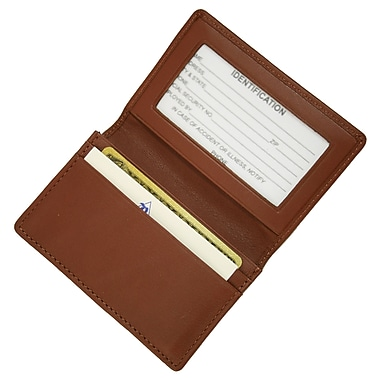 Royce Leather Executive Card Case, Tan, Silver Foil Stamping, 3 Initials