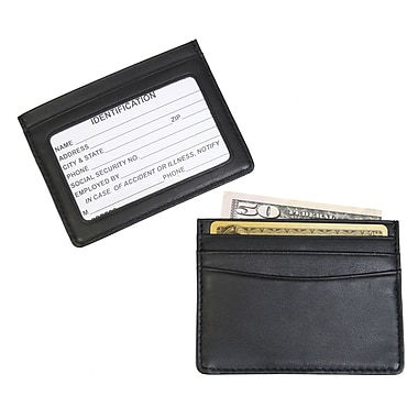 Royce Leather Mini ID and Credit Card Holder, Black, Silver Foil Stamping, 3 Initials