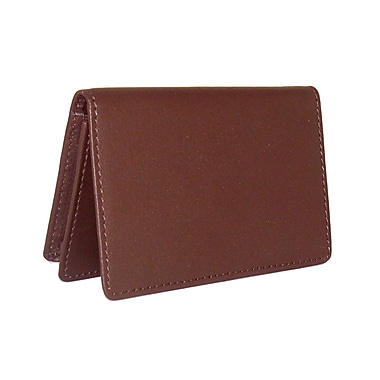 Royce Leather Business Card Holder, Burgundy, Silver Foil Stamping, 3 Initials