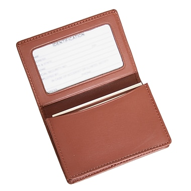 Royce Leather Business Card Holder, Tan, Silver Foil Stamping, 3 Initials