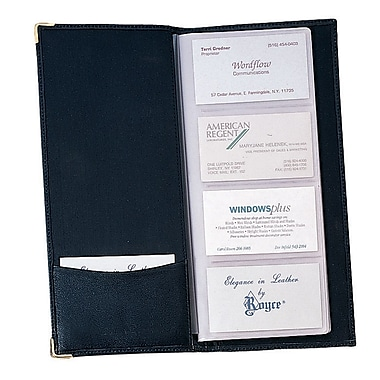 Royce Leather Business Card File, Black, Debossing, 3 Initials