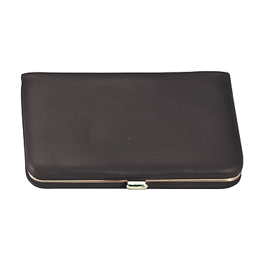 Royce Leather Framed Business Card Case, Black, Silver Foil Stamping, 3 Initials