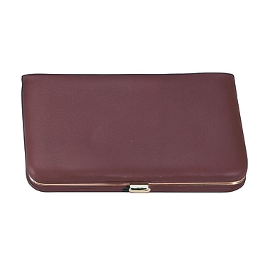 Royce Leather Framed Business Card Case, Burgundy, Gold Foil Stamping, 3 Initials