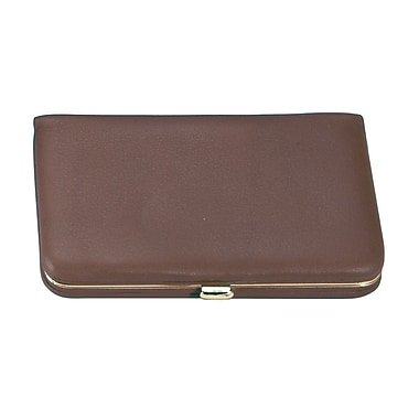 Royce Leather Framed Business Card Case, Coco, Gold Foil Stamping, 3 Initials