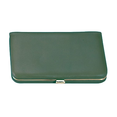 Royce Leather Framed Business Card Case, Green, Gold Foil Stamping, Full Name