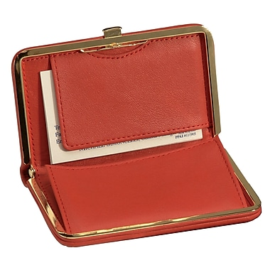 Royce Leather Framed Business Card Case, Red, Debossing, 3 Initials