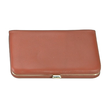 Royce Leather Framed Business Card Case, Tan, Silver Foil Stamping, Full Name