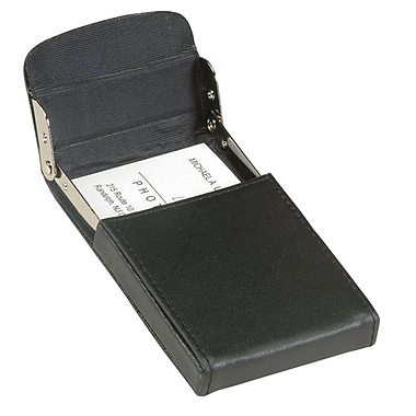 Royce Leather Vertical Framed Card Case, Black, Silver Foil Stamping, Full Name