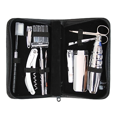 Royce Leather Executive Travel and Grooming Kit, Black, Gold Foil Stamping, Full Name
