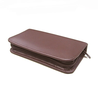 Royce Leather Travel and Grooming Kit, Burgundy, Silver Foil Stamping, 3 Initials