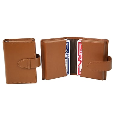 Royce Leather Double Decker Playing Card Case, Tan, Silver Foil Stamping, Full Name