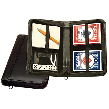 Royce Leather Zip Around Poker Case Black