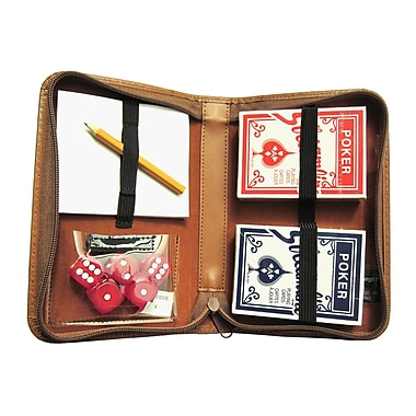Royce Leather Zip Around Poker Case, Tan, Gold Foil Stamping, 3 Initials