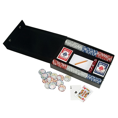 Royce Leather Professional Poker Set, Black, Silver Foil Stamping, Full Name